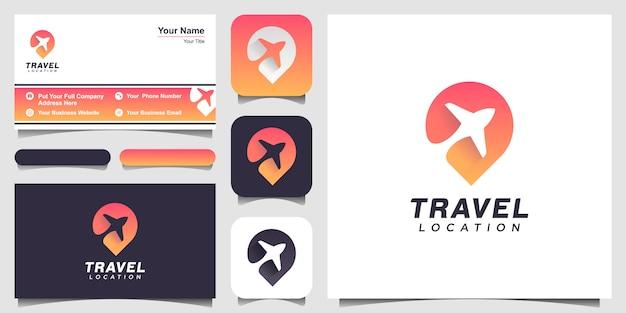 Logo creativo di viaggio aereo. concetto di posizione pin logo.
