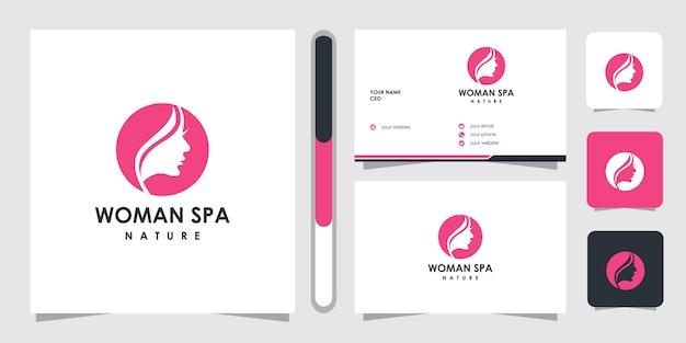 Logo creativo dorato di cura della pelle di bellezza. concetto di logo terapia termale.
