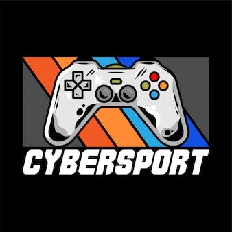 Logo cybersport per team con gamepad per giocare a videogiochi per giocatori.
