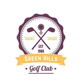 Logo d'annata del club di golf, emblema, segno d'annata del club di golf, mazze da golf attraversate e palla su bianco, illustrazione