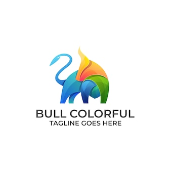 Logo dal design colorato strong bull