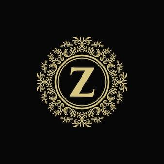 Logo decorativo floreale del monogramma d'annata di lusso dell'oro con il modello di progettazione di lettera