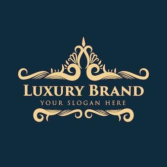 Logo decorativo floreale monogramma vintage di lusso in oro con modello struttura corona