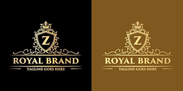 Logo decorativo floreale monogramma vintage reale di lusso in oro con modello struttura corona
