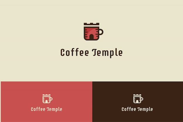 Logo del caffè con l'illustrazione della tazza del tempio