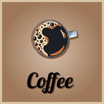 Logo del caffè tazza di caffè. stile cartoon disegnato a mano