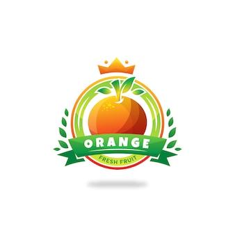 Logo del cerchio dell'emblema del distintivo della frutta di frash king orange
