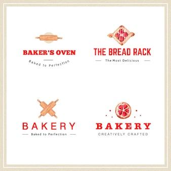 Logo del design di panetteria per ristorante e caffetteria
