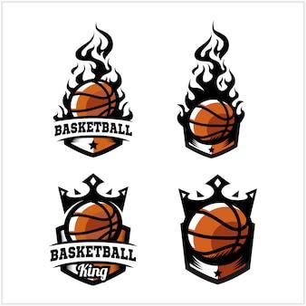 Logo del distintivo di re e fuoco palla da basket