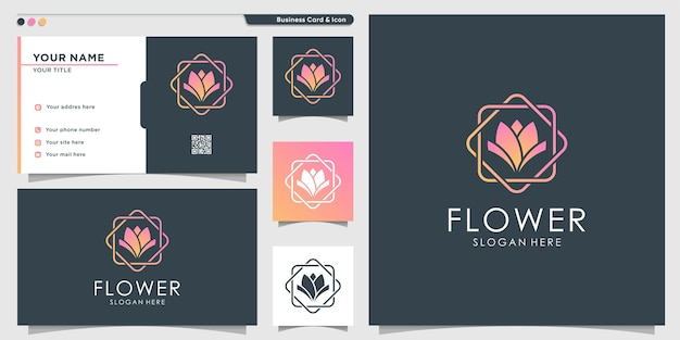 Logo del fiore con stile moderno sfumato e modello di progettazione di biglietti da visita