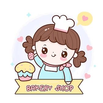Logo del fumetto del bigné della decorazione della ragazza casalinga del forno