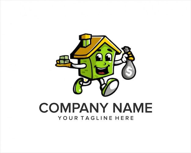 Logo del fumetto della casa con soldi e volto felice