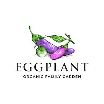 Logo del giardino di famiglia biologico di melanzane