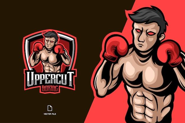 Logo del gioco del personaggio della mascotte di boxe per il modello della squadra sportiva