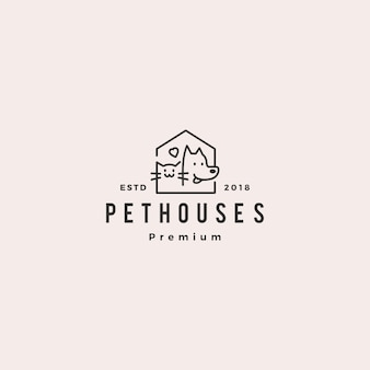 Logo del negozio di casa di animali domestici gatto gatto