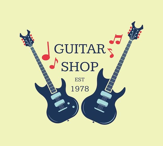 Logo del negozio di chitarra vettoriale, emblema con note musicali. illustrazione del segno negozio musicale