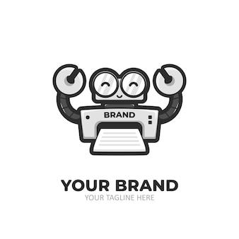 Logo del personaggio mascotte dei cartoni animati di stampante robot