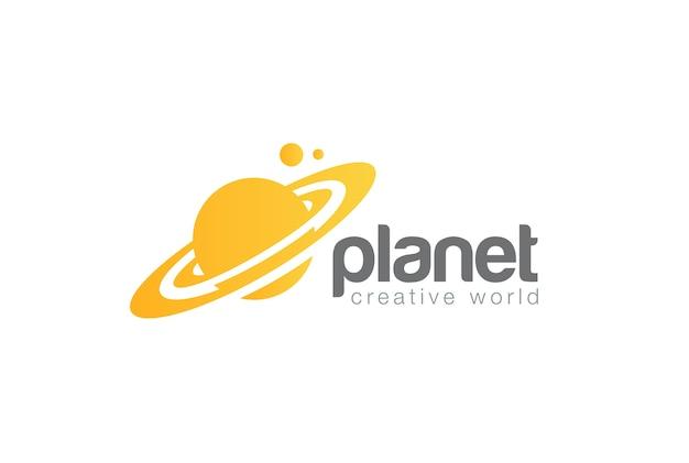 Logo del pianeta di viaggio del mondo. stile spazio negativo.