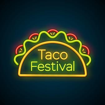 Logo del segno della luce al neon della barra dell'alimento messicano dei taci