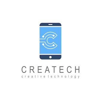Logo del telefono con la lettera c per la tecnologia e l'innovazione