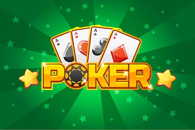 Logo del testo poker e carte da gioco