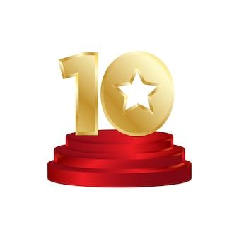 Logo del vincitore di dieci stelle
