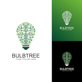 Logo dell'albero della lampadina. idea, logo di ispirazione