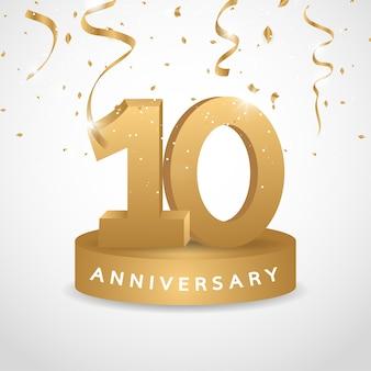 Logo dell'anniversario dell'oro da 10 anni con coriandoli dorati