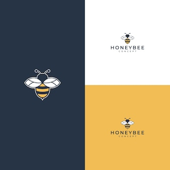 Logo dell'ape mellifica su bianco o giallo