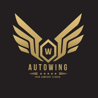Logo dell'automobile e dell'automobile con il simbolo dell'ala e del simbolo dell'ala.