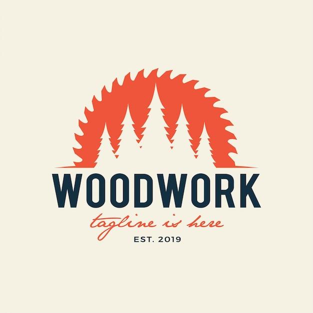 Logo dell'emblema della segheria carpenteria, falegnami, boscaiolo, servizio di segheria. isolato su priorità bassa bianca