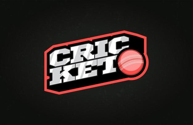Logo dell'emblema di stile di sport tipografia cricket con palla