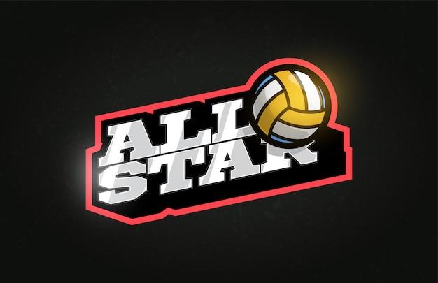 Logo dell'emblema di stile retrò di sport di pallavolo tipografia professionale all star modern.