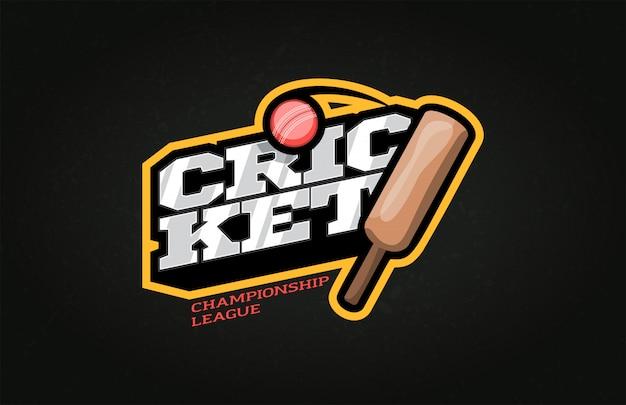 Logo dell'emblema e del modello di stile di sport del cricket di tipografia con la palla.