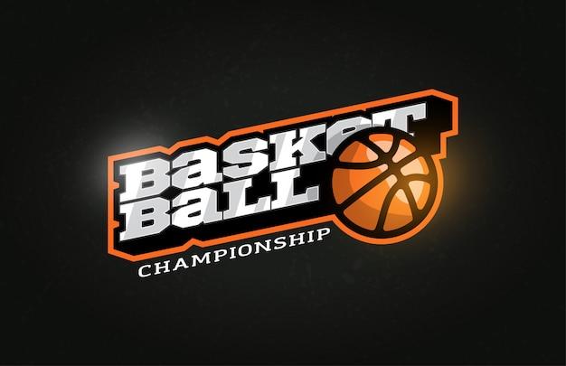 Logo dell'emblema e del modello di stile retrò di pallacanestro professionale moderna tipografia sportiva.
