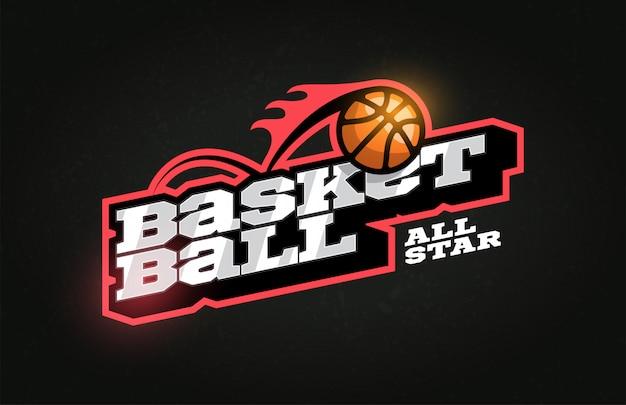 Logo dell'emblema e del modello di stile retrò di pallacanestro professionale moderna tipografia sportiva