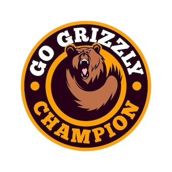 Logo dell'emblema sportivo dell'orso grizzly