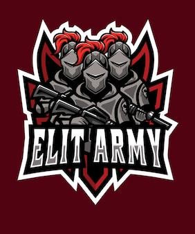 Logo dell'esercito dell'esercito triplet e sport