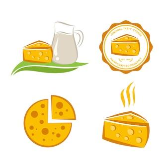 Logo dell'icona del formaggio fissato per industria alimentare