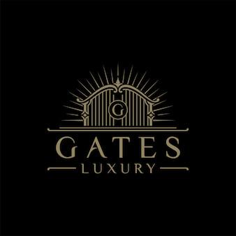 Logo dell'illustrazione del cancello di lusso con la lettera iniziale g nel mezzo, logo dell'hotel di lusso
