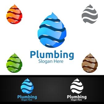 Logo dell'impianto idraulico con acqua e fix home concept design