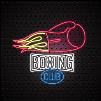 Logo dell'insegna al neon del club di boxe, icona. elemento di design con guantoni da boxe