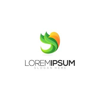 Logo dell'uccello astratto arancione verde