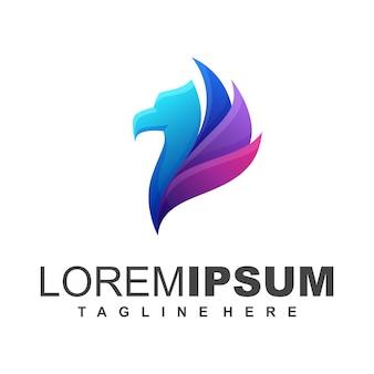 Logo dell'uccello blu e viola