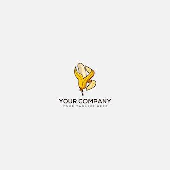 Logo della banana con lettera b, logo di nutrizione della banana