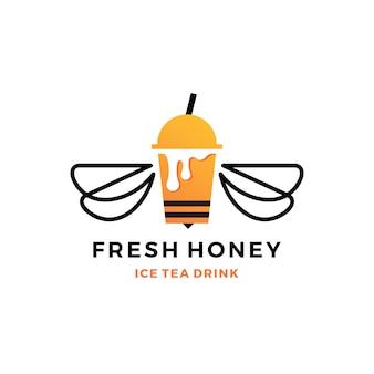 Logo della bevanda della bolla della tazza di tè del ghiaccio del miele