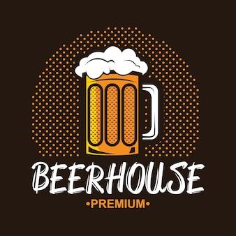 Logo della birra artigianale. etichetta vintage per brew house o pub