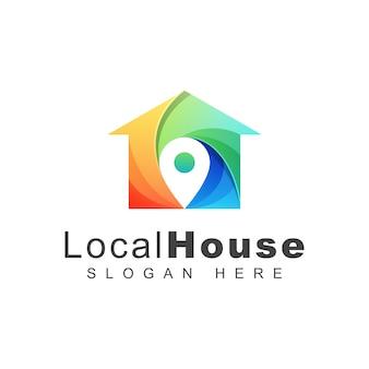 Logo della casa locale o posizione colorato, modello di progettazione logo casa pin