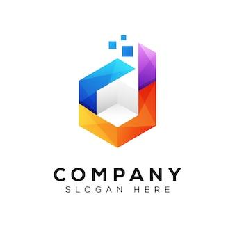 Logo della casella della lettera d, logo della scatola del cubo di tecnologia