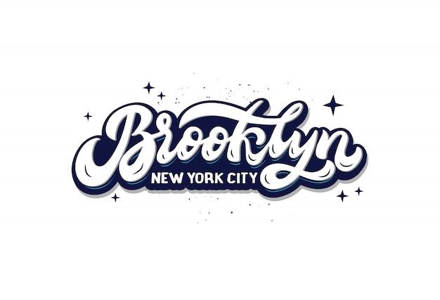 Logo della città di brooklyn new york. disegnata a mano composizione scritta isolato. adesivo scritto a mano.